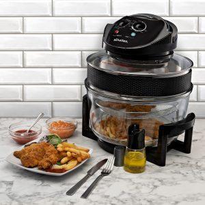 Schallen 17L 2 in 1 Deluxe Black & Glass Air Fryer Counter View
