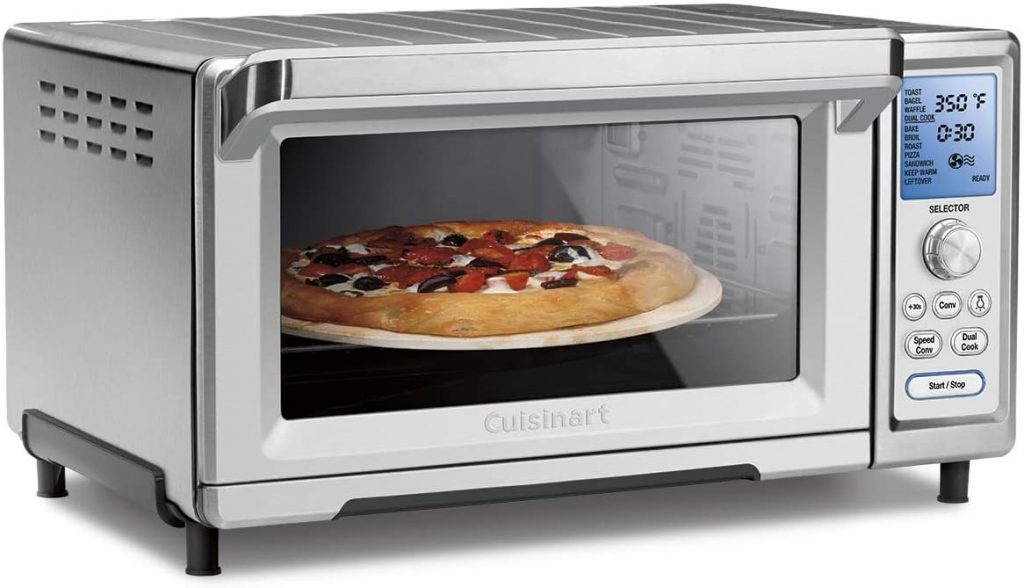 pizza in oven view